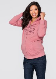 Veste sweat-shirt de grossesse, bpc bonprix collection, vieux rose imprimé