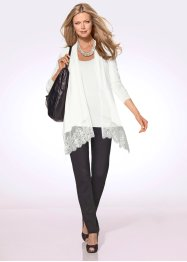 Twin-set (top + gilet), bpc selection premium, blanc cassé