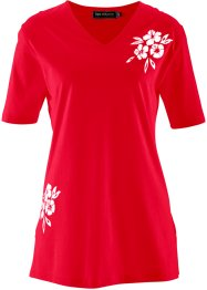 T-shirt long, bpc selection, rouge imprimé