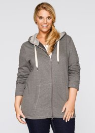 Gilet sweat long, bpc bonprix collection, gris chiné