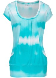 T-shirt long de relaxation, bpc bonprix collection, Batik bleu ciel / blanc