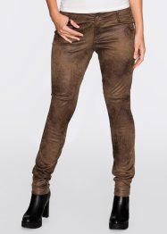 Pantalon extensible imitation cuir velours, RAINBOW, marron used