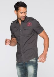 Chemise manches courtes Slim Fit, RAINBOW, anthracite