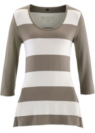 T-shirt long manches 3/4, bpc selection, blanc cassé/taupe rayé