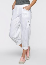 Pantalon cargo 3/4 extensible, bpc bonprix collection, blanc