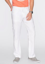 Pantalon cargo en lin retroussable Regular Fit, bpc bonprix collection, blanc