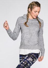 Sweatshirt aspect 2en1, bpc bonprix collection, gris clair chiné