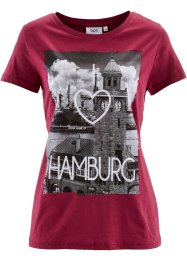 T-shirt manches courtes, bpc bonprix collection, rouge baie imprimé Hamburg