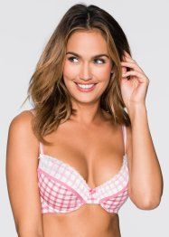 Lot de 2 soutiens-gorge push-up, BODYFLIRT, blanc/rose dragée à carreaux+blanc