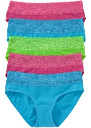 Lot de 5 slips, bpc bonprix collection, turquoise+rose+vert