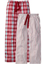 Lot de 2 pantalons de pyjama en jersey, bpc bonprix collection, carreaux+rayé