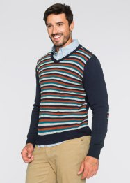Pull col en V Regular Fit, bpc bonprix collection, bleu foncé rayé
