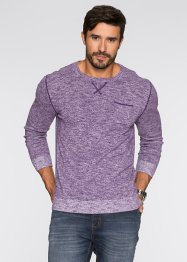 Pull Regular Fit, bpc bonprix collection, myrtille/blanc chiné