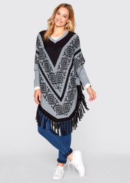 Pull poncho, bpc bonprix collection, gris argent à motif