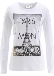 T-shirt extensible manches longues, bpc bonprix collection, blanc imprimé Paris