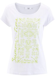 T-shirt manches courtes, bpc bonprix collection, blanc/kiwi imprimé