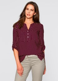 Blouse à manches 3/4, bpc bonprix collection, rouge érable/blanc à pois