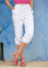 Pantalon en lin 3/4, bpc bonprix collection, blanc