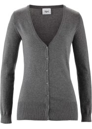 Gilet basique en maille, bpc bonprix collection, gris chiné