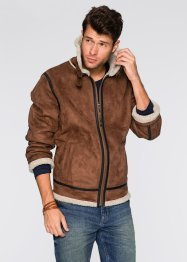 Blouson Regular Fit en synthétique imitation peau d'agneau, John Baner JEANSWEAR, marron