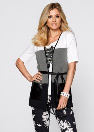 Gilet sans manches, bpc selection, blanc/capucine/anthracite chiné
