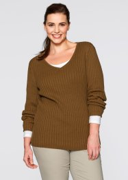 Pull côtelé, bpc bonprix collection, marron cognac