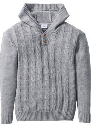 Pull en maille douillet à capuche, bpc bonprix collection, gris clair chiné