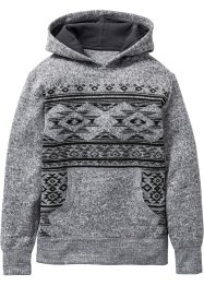 Pull à capuche avec motif ethnique, bpc bonprix collection, gris chiné