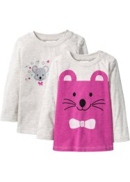Lot de 2 T-shirts bébé à manches longues en coton bio, bpc bonprix collection, écru chiné/fuchsia