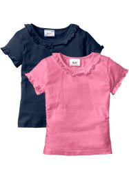 Lot de 2 T-shirts, bpc bonprix collection, bleu foncé + rose vif