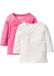 Lot de 2 T-shirts avec application, bpc bonprix collection, blanc cassé+fuchsia