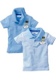 Lot de 2 polos pour bébé, bpc bonprix collection, hellblau & hellblau/weiß gestreift