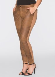 Pantalon extensible en synthétique imitation cuir velours, BODYFLIRT, marron
