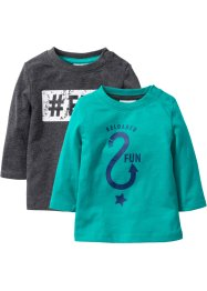 Lot de 2 T-shirts bébé à manches longues en coton bio, bpc bonprix collection, émeraude/anthracite chiné