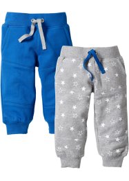 Lot de 2 pantalons sweat bébé en coton bio, bpc bonprix collection, bleu azur/gris clair chiné