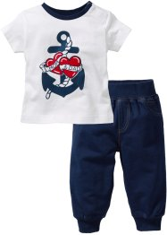 T-shirt + pantalon sweat (Ens. 2 pces.) en coton bio, bpc bonprix collection, bleu foncé/blanc