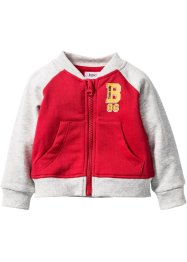 Gilet sweat bébé en coton bio, bpc bonprix collection, rouge/écru chiné