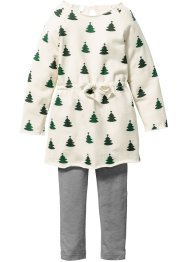 Robe sweat + legging Noël (Ens. 2 pces.), bpc bonprix collection, beige/vert foncé imprimé/gris chiné