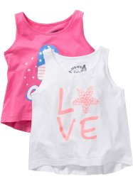 Lot de 2 tops imprimés, bpc bonprix collection, flamant rose/blanc