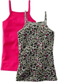 Lot de 2 tops, bpc bonprix collection, léopard/fuchsia foncé