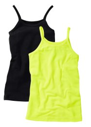 Lot de 2 tops, bpc bonprix collection, jaune fluo/noir