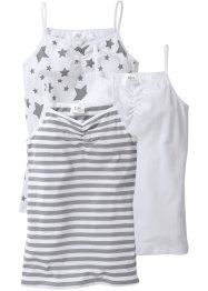 Lot de 3 tops, bpc bonprix collection, blanc imprimé