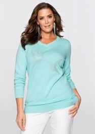 Pull long à strass appliqués, bpc selection, bleu pastel