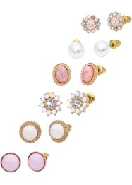 Set de boucles d'oreilles (Ens. 12 pces.), bpc bonprix collection, doré/rose