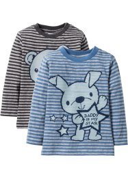 Lot de 2 T-shirts bébé à manches longues en coton bio, bpc bonprix collection, gris clair chiné/bleu jean/anthracite chiné