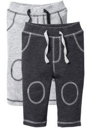 Lot de 2 pantalons sweat bébé coton bio, bpc bonprix collection, gris clair chiné/anthracite chiné