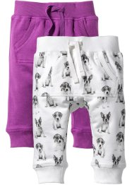 Lot de 2 pantalons sweat bébé coton bio, bpc bonprix collection, pivoine/blanc cassé