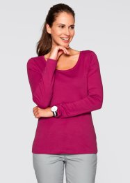 T-shirt col rond manches longues, bpc bonprix collection, rouge baie