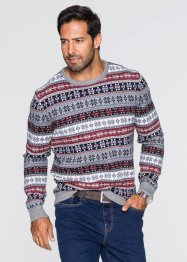 Pull norvégien col rond Regular Fit, bpc bonprix collection, marron clair