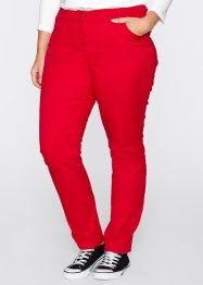 Pantalon en coton extensible straight, bpc bonprix collection, rouge
